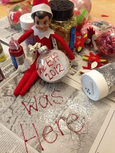 Top Elf on the Shelf - Page 10 of 13 - Paige's Party Ideas : Elf on the shelf was here….also do stocking to hold yearly hello and goodbyes and activities done All Things Christmas, Christmas Humor, Christmas Holidays, Christmas Crafts, Christmas Ideas, Christmas Ornament, Kids Holidays, Merry Christmas, Funny Christmas Wishes