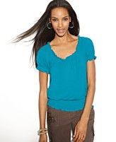 INC International Concepts Top, Cap Sleeve Peasant-Cute! Cute! For the cruise.