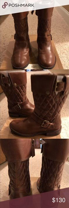 UGG Conor Moto Boots size 7.5 Excellent used condition. Only worn a handful of times. Diamond quilted shaft, foldover cuff, belted harness detail leather Moto Boot. Authentic. UGG Shoes Combat & Moto Boots