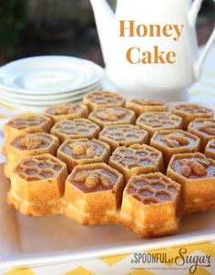 Honey Cake - Good! with or w/out almonds. NOTE: Used 1c honey, 1/4c sugar, 1 tsp bs NOTE: let sit in pan 3-5 min, before flipping GENTLY. Very fragile until cool.