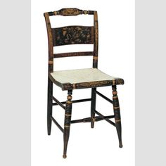 """FANCY SIDE CHAIR/ Artist unidentified, probably New York or Connecticut, c.1830–1845, paint, bronze powder stenciling, and gold leaf on wood, 35 3/8 × 17 1/4 × 19"""", collection American Folk Art Museum, gift of the Historical Society of Early American Decoration, 82.19.1."""