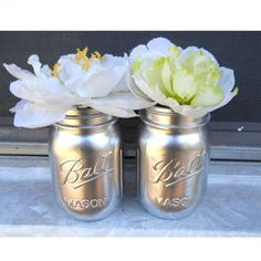 Silver Metallic Ball Mason Jars