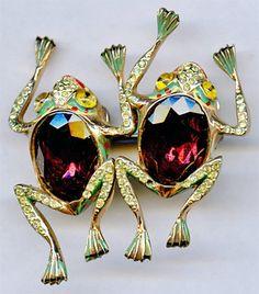 1940's CORO Sterling Enamel Rhinestone Jewel Belly Frogs Duette Brooch