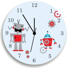 Robot Wall Clock for boys Bedroom - Nursery Wall Decor | kidogrowthchart - Children's on ArtFire