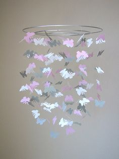 Butterfly baby mobile White light gray and by TiinaSofiaDesign, $45.00