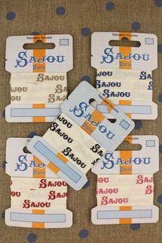 11 mm cotton ribbon ecru base - blue Sajou motif