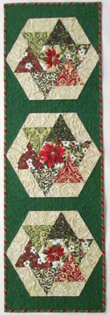 Holiday Elegance Spinners Table Runner Kit Love the look of this runner. Plus it goes together quick and easy. Table Runner And Placemats, Table Runner Pattern, Quilted Table Runners, Christmas Patchwork, Christmas Quilting, Purple Christmas, Coastal Christmas, Modern Christmas, Scandinavian Christmas