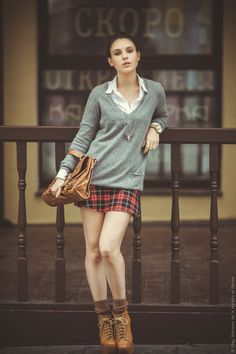 Zara neoprene tartan skirt and bull necklace, Topshop sweater, JC Lita