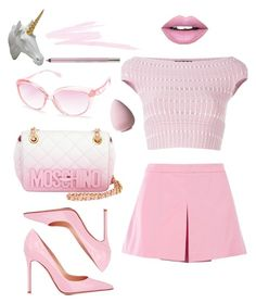A fashion look from April 2016 featuring boatneck tops, Love Moschino and high heel stilettos. Browse and shop related looks. Classy Work Outfits, Swag Outfits For Girls, Cute Comfy Outfits, Girls Fashion Clothes, Girly Outfits, Trendy Outfits, Fashion Outfits, 2000s Fashion, Teen Fashion