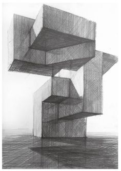 Shade Architecture Concept Drawings, Architecture Sketchbook, Architecture Details, Geometric Drawing, Geometric Art, Perspective Drawing, Point Perspective, Observational Drawing, Industrial Design Sketch