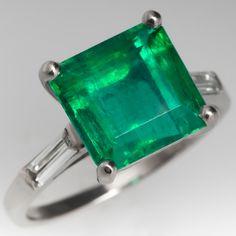 3 Carat Emerald Engagement Ring Baguette Diamonds Platinum