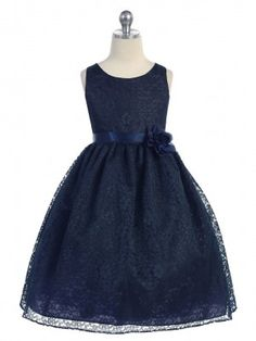 Navy Lovely Floral Lace Flower Girl Dress (Available in Sizes 2-12 in 13 Colors)