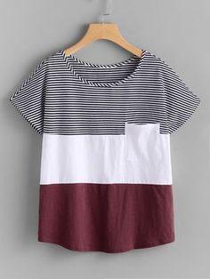 Camiseta con parche con costura -Spanish SheIn(Sheinside)