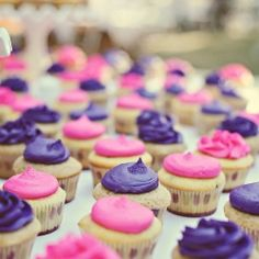Pretty pink and purple cupcakes