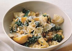 Farfalle with Golden Beets, Beet Greens, and Pine Nuts