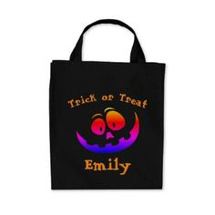 Halloween Trick or Treat Pumpkin Candy Tote Bag - kids kid child gift idea diy personalize design
