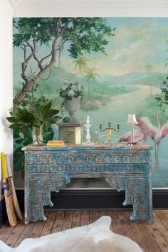 Designed by Carol Moreno, this outstanding wallpaper mural features flamingos stretch and preen in an idyllic river setting. Flamingo Wallpaper, Marimekko Wallpaper, Harlequin Wallpaper, Print Wallpaper, Wallpaper Murals, Green Nature Wallpaper, Scenery Wallpaper, Bright Bedroom Colors, Cole And Son Wallpaper