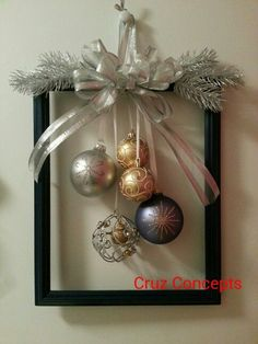 60 DIY Picture Frame Christmas Wreath Ideas that totally fits your Budget - Hike. 60 DIY Picture Frame Christmas Wreath Ideas that totally fits your Budget - Hike n Dip Christmas Wreaths For Front Door, Christmas Frames, Simple Christmas, Christmas Holidays, Rustic Christmas, Door Wreaths, Handmade Christmas, Picture Frame Christmas Ornaments, Elegant Christmas Decor