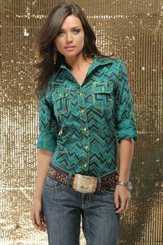 $49.99 Cruel Girl Western Shirt Womens L/S Button Up Green Black CTW9192002 #Clothes