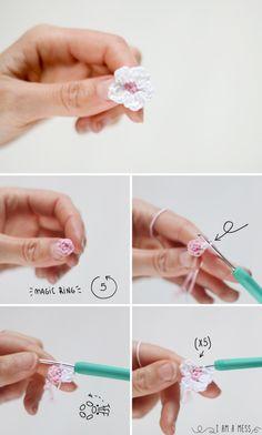 Pasos para hacer una flor de almendro de ganchillo