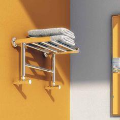 Reina Troisi Polished Steel Designer Heated Towel Rail Rack Radiator - 294 x Radiator Shelf, Radiator Valves, Stainless Steel Radiators, Stainless Steel Railing, Central Heating Radiators, How To Fold Towels, Towel Shelf, Steel Manufacturers, Heated Towel Rail