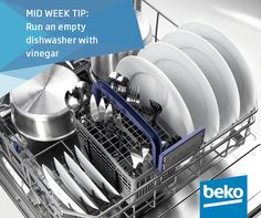 Every once in a while run an empty dishwasher with vinegar: It's the same concept as running a vinegar load in your washing machine. You simply toss a cup of white vinegar into the bottom of an empty dishwasher and run a normal cycle. It cleans out old food particles to keep your dishwasher smelling fresh.