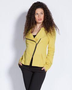 Дамско яке с асиметрично закопчаване - жълто - Leon #Efrea #Ефреа #online #онлайн #пазаруване #дрехи #сако #жълто