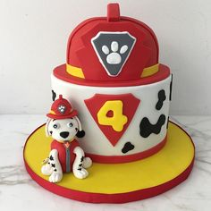 PAW Patrol Marshall cake for an adorable 4 year old! 🚒⛑🐶 One of my favorite cakes to date because I . Twin Birthday Cakes, Paw Patrol Birthday Cake, Paw Patrol Party, Boy Birthday Parties, 4th Birthday, Paw Patrol Marshall, Cake Disney, Torta Paw Patrol, Fire Engine Cake