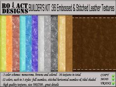 ..::RO!ACT::..DESIGNS Builder's Kit: 36 Embossed and Stitched Leather Textures