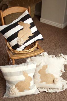 20x20 Decorative Burlap Easter Bunny Pillow Slip by PurdueAvenue