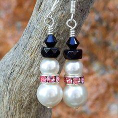 Handmade Snowman Earrings Christmas Swarovski Pink Black White Jewelry | ShadowDogDesigns - Jewelry on ArtFire