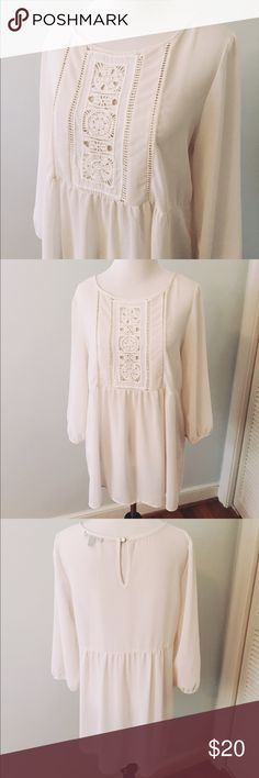 Monteau Cream Embroidered Blouse Boho semi-sheer cream Blouse by Monteau. Quarter length elastic sleeves, empire waist and top embroidery makes this the perfect romantic top. Keyhole button back closure. Flowy 100% polyester fabric. Excellent condition. NO TRADES Monteau Tops Blouses