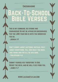 Encouraging Back to School Bible Verses {Free Printable} – LeeAnn G Taylor – Embracing the Mosaic Life Christ. – encouraging bible verses for back to school – scripture for kids – parenting with purpose – creating a God-centered home Scriptures For Kids, Encouraging Bible Verses, Bible Encouragement, Printable Bible Verses, Bible Verses Quotes, Bible Scriptures, Free Printable, Encouraging Words For Kids, Scripture For Teachers