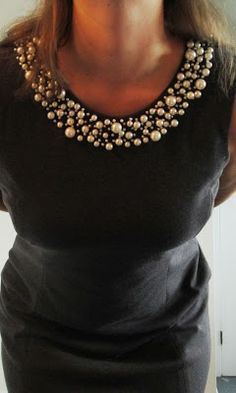 Understated Classics: Pearl embroidered collar on gray shift dress