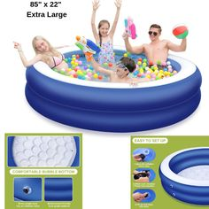 Inflatable Swimming Pool Family Kid Adult Fun Backyard Round Above Ground New Fun Backyard, Adult Fun, Family Kids, Swimming Pools, Ebay, Swiming Pool, Pools