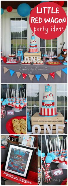 How cute is this first birthday with a little red wagon theme! See more party ideas at CatchMyParty.com!
