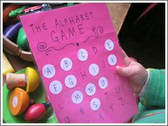 Kids Craft Weekly - Issue 49 - Alphabet crafts.    Alphabet treasure hunt. Place letter stickers on different objects throughout the house (or school) and when the child finds them have them place the letter sticker on the game board. :-)