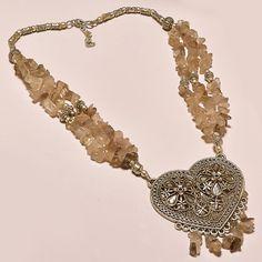 "Beautiful 925 Sterling silver Gemstone Rose Quartz 96gm 11"" Handmade Necklace #AbhigyaartJewelry"