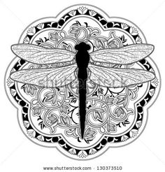 Dragonfly Medalion - stock vector