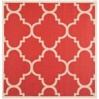 Courtyard Red 7 ft. 10 in. x 7 ft. 10 in. Indoor/Outdoor Square Area Rug