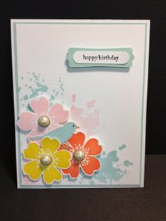 A Morning Meadow Flower Shop Birthday Stampin' Up! Rubber Stamping Handmade Cards
