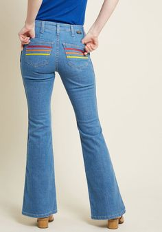 Wrangler x MC Rainbow Radiance Flared Jeans - 33 in. in 12 - Flare Denim Pant Long by Wrangler from ModCloth 1960s Outfits, Jean Outfits, Fashion Marketing, Denim Flares, Shoes With Jeans, Mode Streetwear, 1960s Fashion, Ladies Dress Design, Modcloth