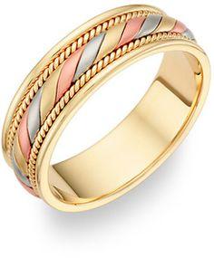 ApplesofGold.com - 14K Tri-Color Gold Design Wedding Band Ring