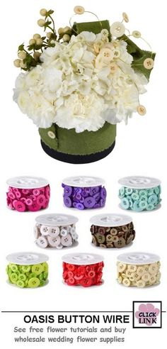 Beautiful flower designs accented with pre-wired button accessories.  Nine bright colors to match your own wedding theme. $16.99