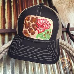 Leopard Rose Cap - Leopard print and rose leather patch cap. Colorful  rustic painted and 627bba3cd738