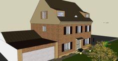 3D vizualizace - fasáda domu - cihličky _zepředu