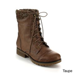 Refresh Women's 'Wynne-06' Ribbed Cuff Mid-Calf Combat Boots - Overstock™ Shopping - Great Deals on Refresh Boots