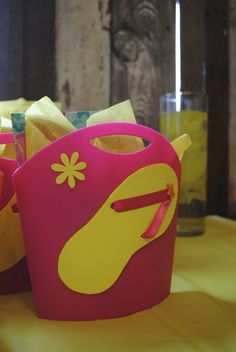 Pool Party -   Luau theme: party favors tote bags  Instead: make flip flop shapes and decorate for,scrapbooks?