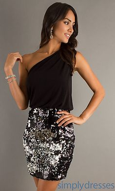 Short One Shoulder Sequin Dress at SimplyDresses.com