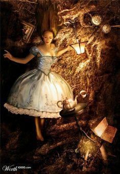 Alice in Wonderland / karen cox. Alice falling down the rabbit hole Lewis Carroll, Alice Liddell, Deco Disney, Disney Pixar, Disney Animation, Wallpapers Geeks, Fantasia Marilyn Monroe, We All Mad Here, Foto Fantasy